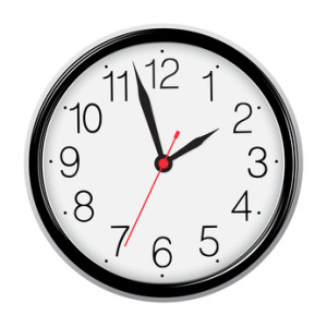 Classic round wall clock isolated on white. Vector EPS10 illustr