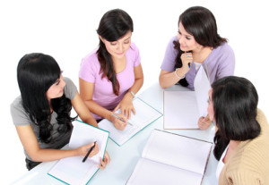 group of student studying